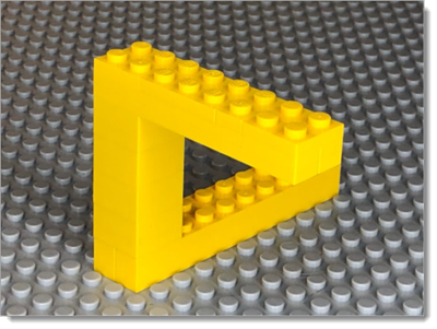 An image of the impossible Penrose triangle illustrating a there-and-back journey.